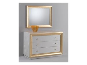 Jolie chest of drawers, C�moda con un dise�o cl�sico, acabado lacado brillante, la decoraci�n de hojas de oro