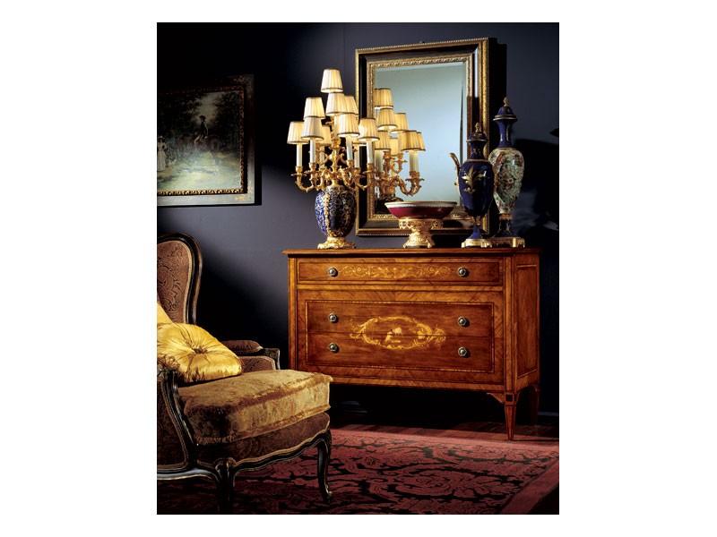 Maggiolini chest of drawers 824, Cómoda de madera con tres cajones