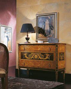 Maggiolino cómoda de palisandro, Cajonera con incrustaciones preciosas