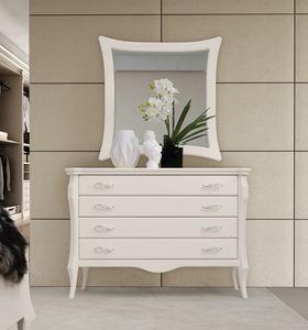 MONTE CARLO / cómoda, Pecho con cuatro cajones, acabado lacado blanco