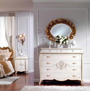 OLIMPIA B / Ivory lacquered chest of drawers, Cómoda de madera, de estilo clásico, para el hotel de lujo