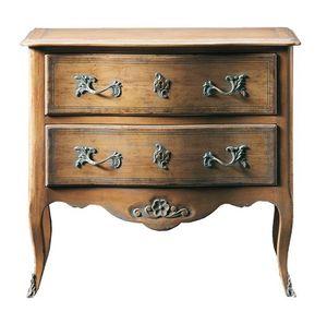 Oscar FA.0070, Cómoda regional de transición en madera, con pequeña decoración floral