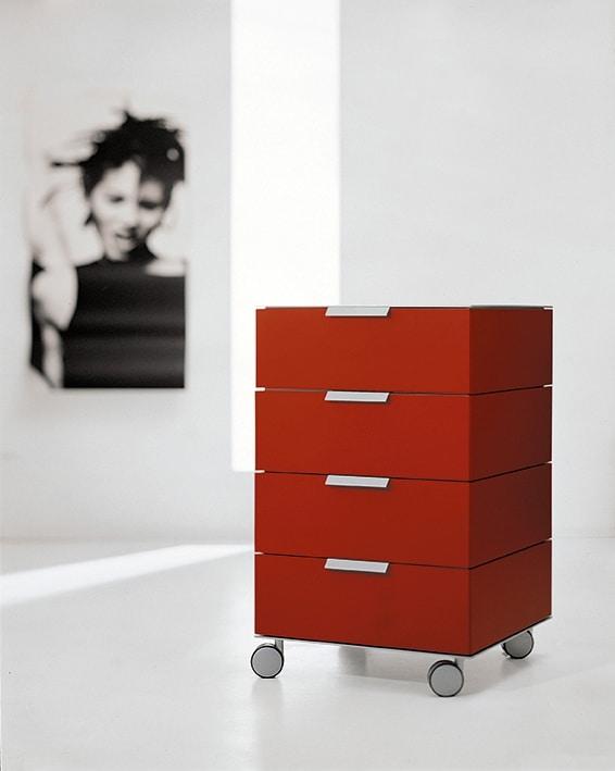 PRISMA comp.01, Cajones con ruedas en estilo minimalista, para la oficina