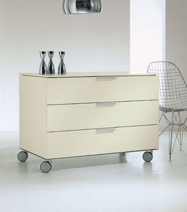 PRISMA comp.03, Mueble con cajones con ruedas para el hogar, detalles de aluminio