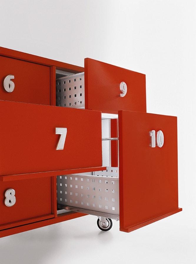 TOOLBOX comp.02, Contenedores para documentos con ruedas, para recepción