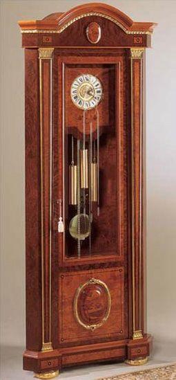 IMPERO / Grandfather corner clock , Reloj de pie de madera de fresno, estilo clásico de lujo