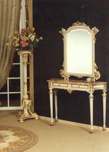 1020 CONSOLA, Consola clásica de madera maciza, con 2 cajones