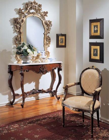 3200 CONSOLE, Clásico de la consola de lujo, la parte superior de mármol Botticino