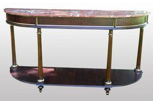 3800 CONSOLA L.XVI, Consolle de madera de caoba con tapa de mármol rojo, de estilo clásico
