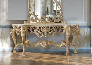 ART. 2949, Consola clásica con acabado dorado.