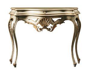 Beatrice FA.0023, Consola barroca con un cajón, decoraciones florales, para ambientes de estilo clásico