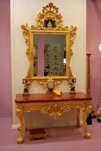 Consola + espejo ART. CL0013+CR 0058, Consola de 4 patas en madera tallada con tapa de mármol