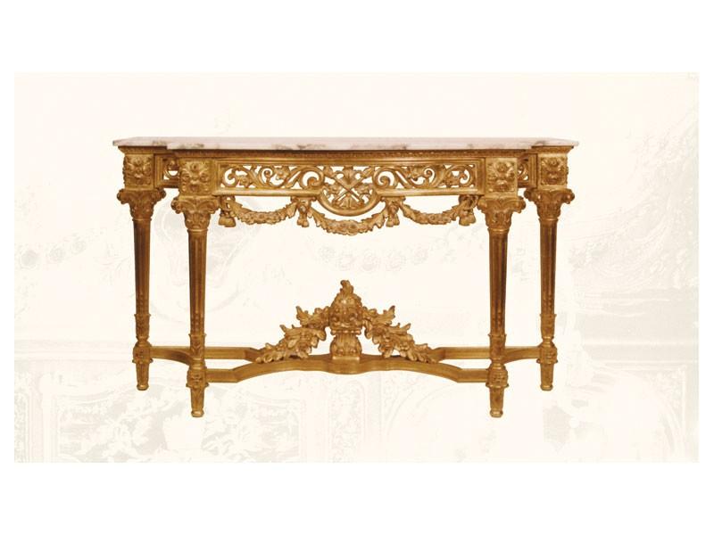 Console art. 217/b special, Consolle hecho de madera decorada a mano, decoraciones florales