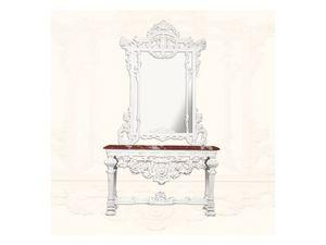 Console art. 226/a, Consolle hecha de madera lacada en blanco, tapa de mármol rojo