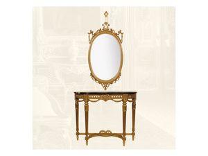 Console art. 238 Special, Consolle hecho de madera con decoración floral, la tapa de mármol
