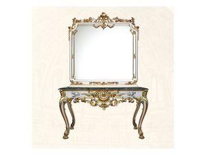 Console art. 254, Mesa de lujo con acabados blancos en pan de oro