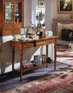D 406, Consola clásica de madera de cerezo, con tallas e incrustaciones