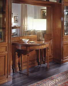 D 407, Mesa consola clásica, en madera de cerezo con incrustaciones