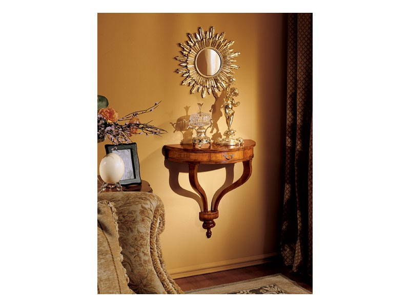 Emanuela console 757, Consolle hecho de madera, montaje en la pared, estilo clásico