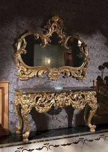 F105, Consolle mesa con tapa de mármol y oro espejo