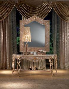 MB44 Vanity, Consola en madera, decoración de hojas de oro, de estilo clásico
