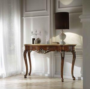 P 401, Consola en madera de nogal tallada, tapa de mármol, clásico