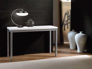 Art. 723 Consollina, Consola de metal, con tapa de melamina blanca