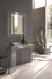 SAGITTA COC05, Consola de cristal curvado y espejo adecuado para ambientes modernos