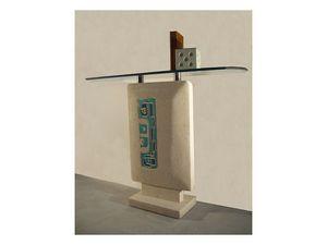 Settanta console, Consolle de entradas, base de piedra y vidrio en la parte superior