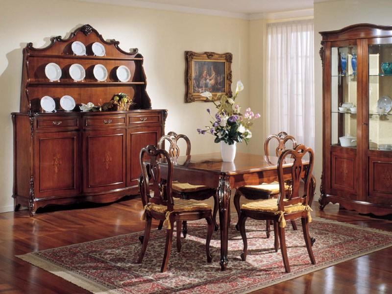 3145 CUPBOARD, Aparador de madera de nogal clásico con 3 puertas y estante de placa