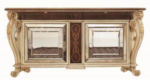 Allnatt LU.0001, Aparador con patas talladas, superior incrustaciones, puertas con espejos de Murano, de estilo clásico