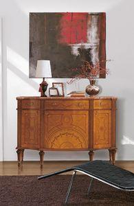 Art. 143, Aparador de lujo, de madera, con incrustaciones de 3 puertas y 3 cajones, tapa de mármol
