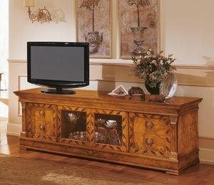 Art. 527/TV, Aparador clásico de madera, soporte de la TV con incrustaciones