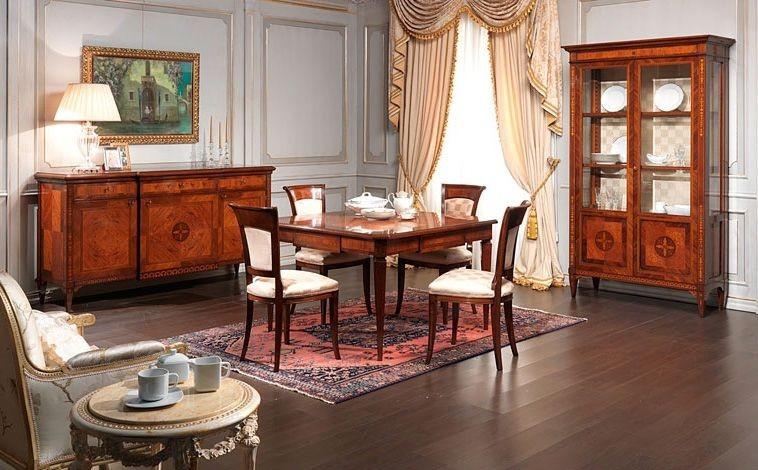 Art. 910 sideboard, Aparador de estilo clásico, en madera de nogal, para el comedor