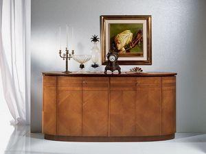 CR491 Neoclassica aparador, Aparador oval de madera, de estilo clásico y lujoso
