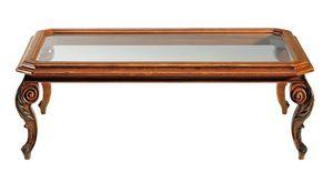 De chirico RA.0686.A, Mesa de centro rectangular en madera de nogal, tapa de cristal, patas talladas, para ambientes clásicos