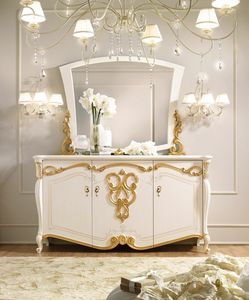 Fenice Art. 1606, Aparador blanco con adornos en pan de oro