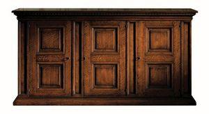 Fosciandora ME.0448, Aparador de madera de nogal con 3 puertas, con incrustaciones, clásico
