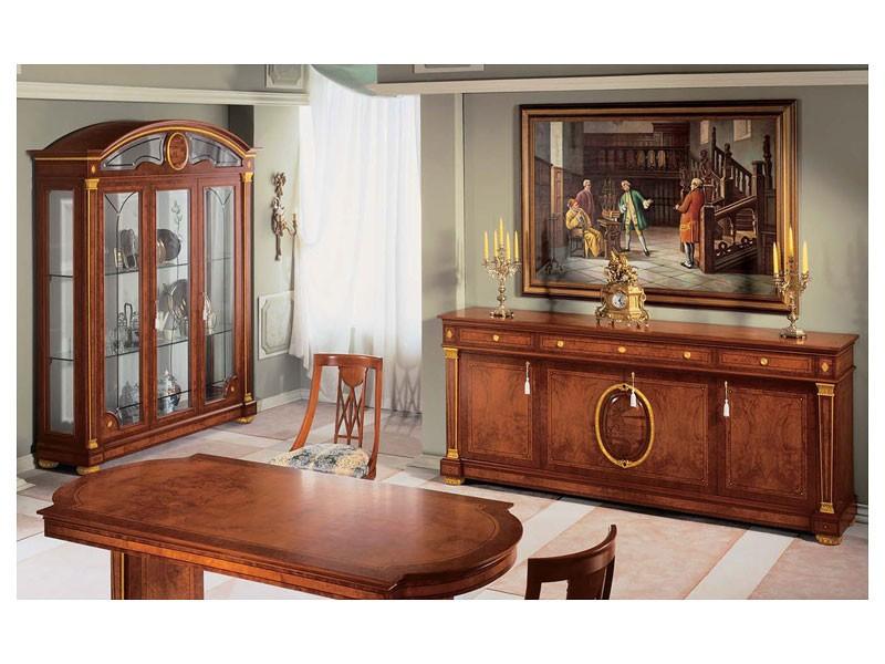 IMPERO / Sideboard with 4 doors, Aparador de estilo clásico, hecho de madera con acabados de oro