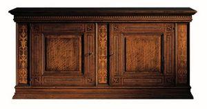 Medicea ME.0450, Aparador de la nuez, con 2 puertas y 2 cajones, con incrustaciones de arce y palo de rosa, 1500 estilo de Florencia