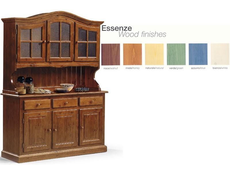 VAD/3, Aparador de madera con vitrina de cristal, para la cocina rústica