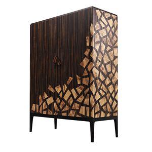 701802 Zarafa, Elegante gabinete de bar con insertos de brezo