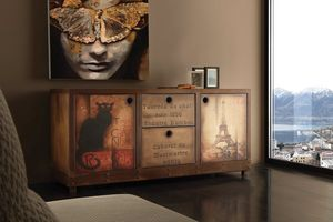 Art. 710CN Industrial Vintage aparador, Aparador vintage, acabado efecto óxido y madera envejecida
