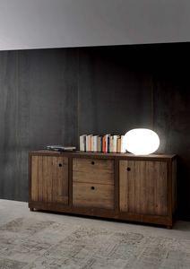 Art. 710MD Industrial Vintage Madia, Aparador de madera maciza de abeto, estilo de la vendimia