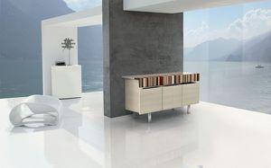 ATHENA 1.7 BC-ACERO, Aparador de madera con inserciones de maderas finas, propicio ambientes modernos y elegantes