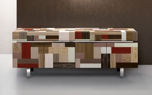 ATHENA 2.3 PW90, Aparador cubierta Mano, esencias de maderas preciosas, 4 puertas