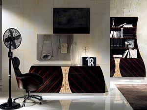 CR42 Cartesio Aparador, Aparador de madera con 4 puertas, decoraciones florales en roble