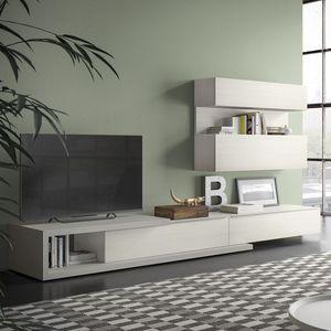 Spazio S309, Sistema de pared para tv, con equipo de alta fidelidad
