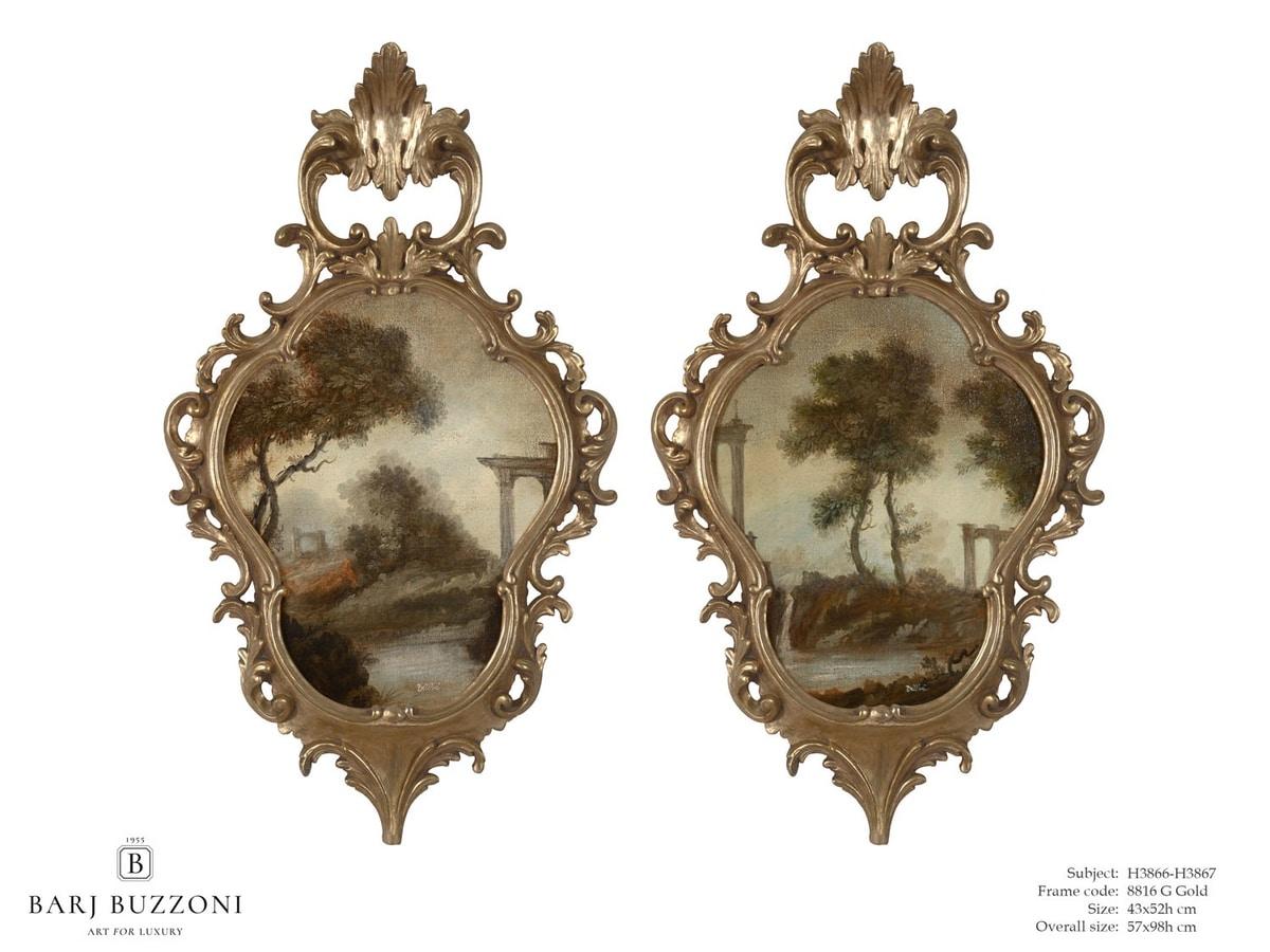 Classic landscape I-II – H 3866-3867, Pintura al óleo con marco de madera tallada a mano