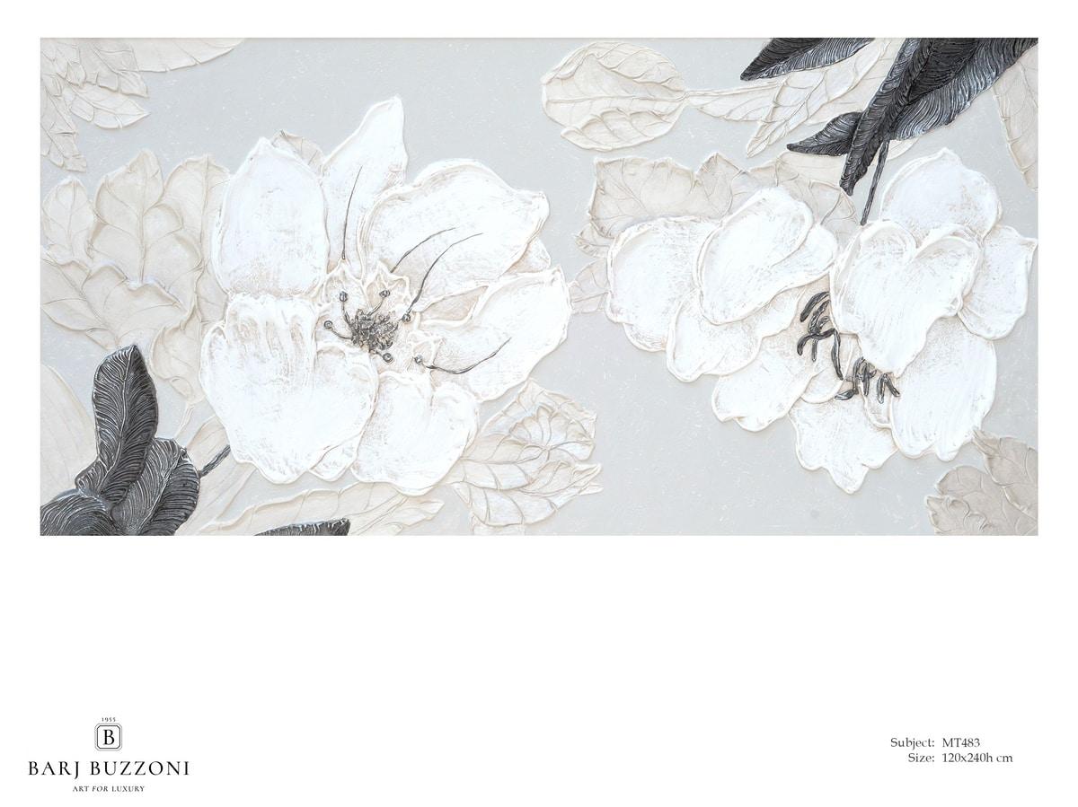 Delicate flowers with leaves - MT483, Cuadro floral con efecto de bajorrelieve